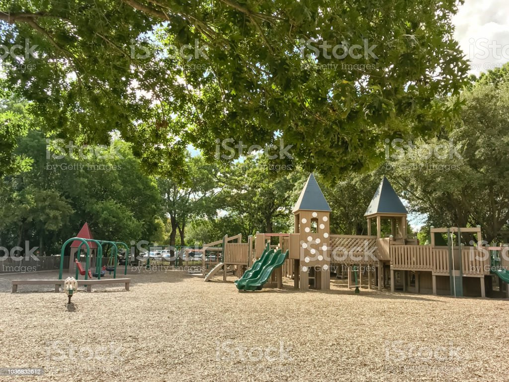 Public Wooden Castle Style Children Playground In Coppell Texas Usa