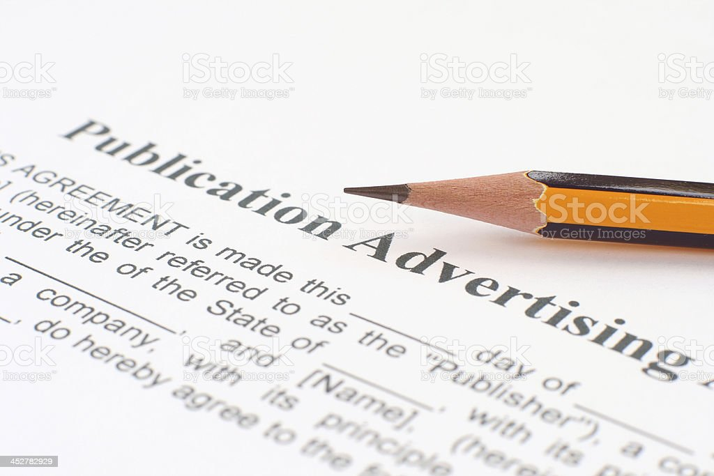Publication advertising form royalty-free stock photo
