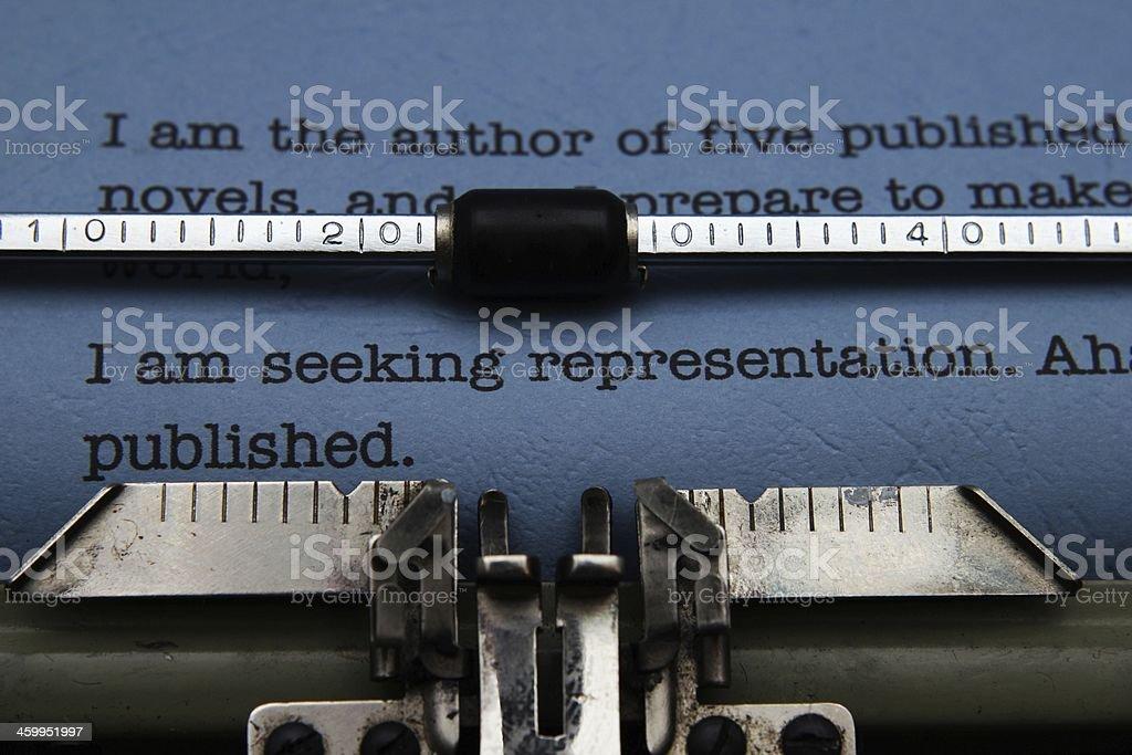 Publishing letter on typewriter stock photo