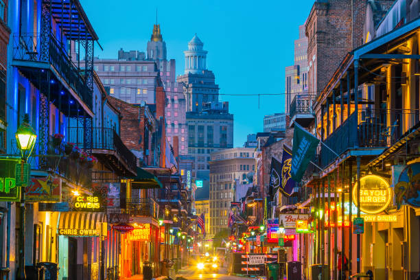Pubs and bars with neon lights in the French Quarter, New Orleans stock photo