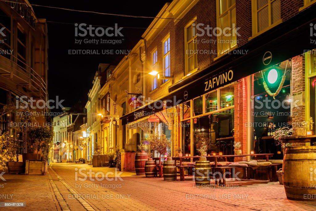 Arnhem, The Netherlands – October 30, 2017: Pubs and restaurants in...
