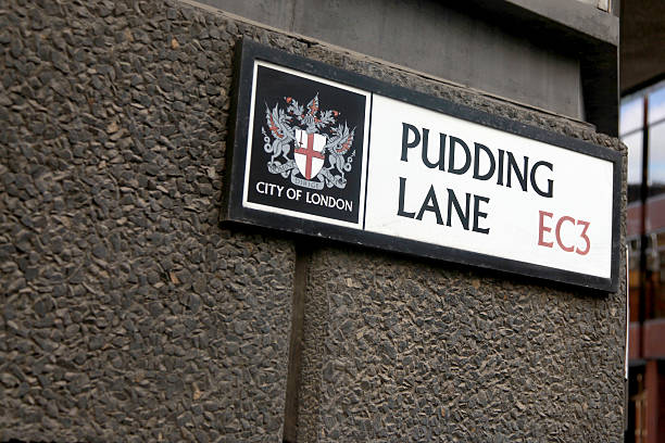 Pudding lane sign stock photo