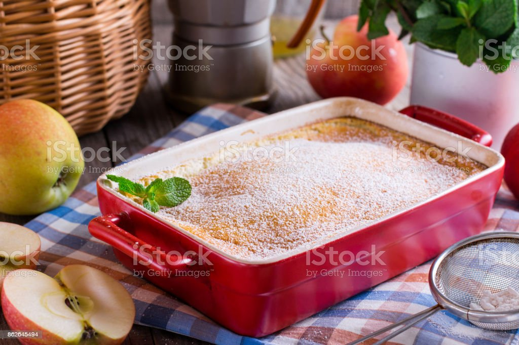 Pudding with apples stock photo