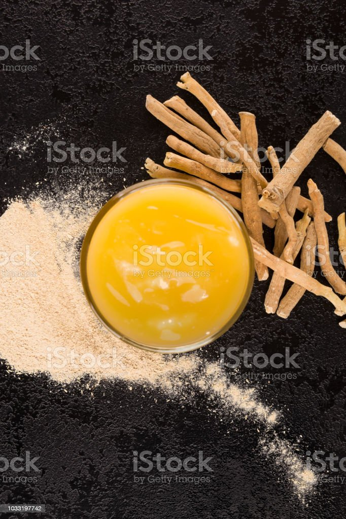 Pudding with ashwagandha superfood. stock photo