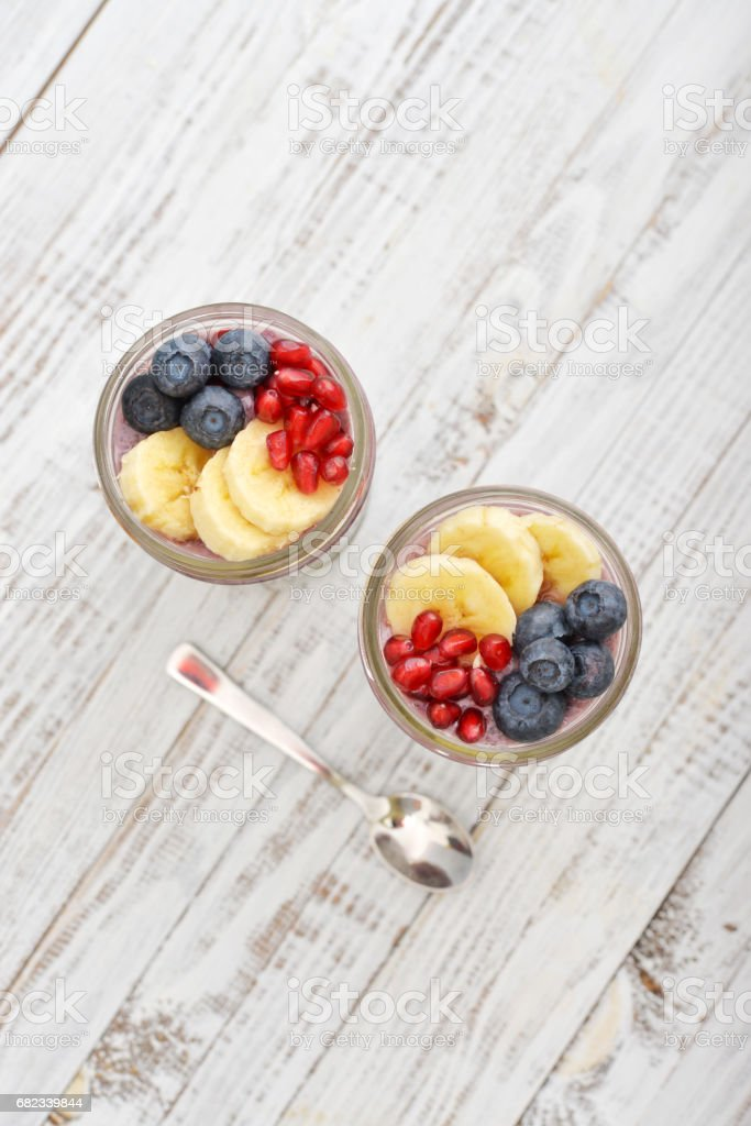 Pudding with chia seeds royalty free stockfoto