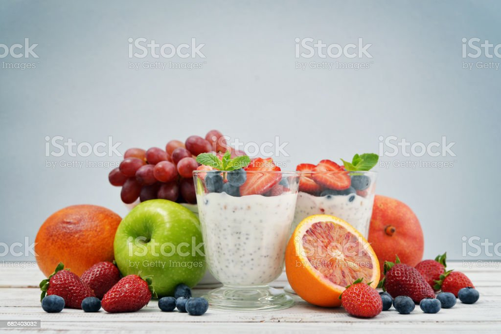 Pudding with chia seeds royalty-free stock photo