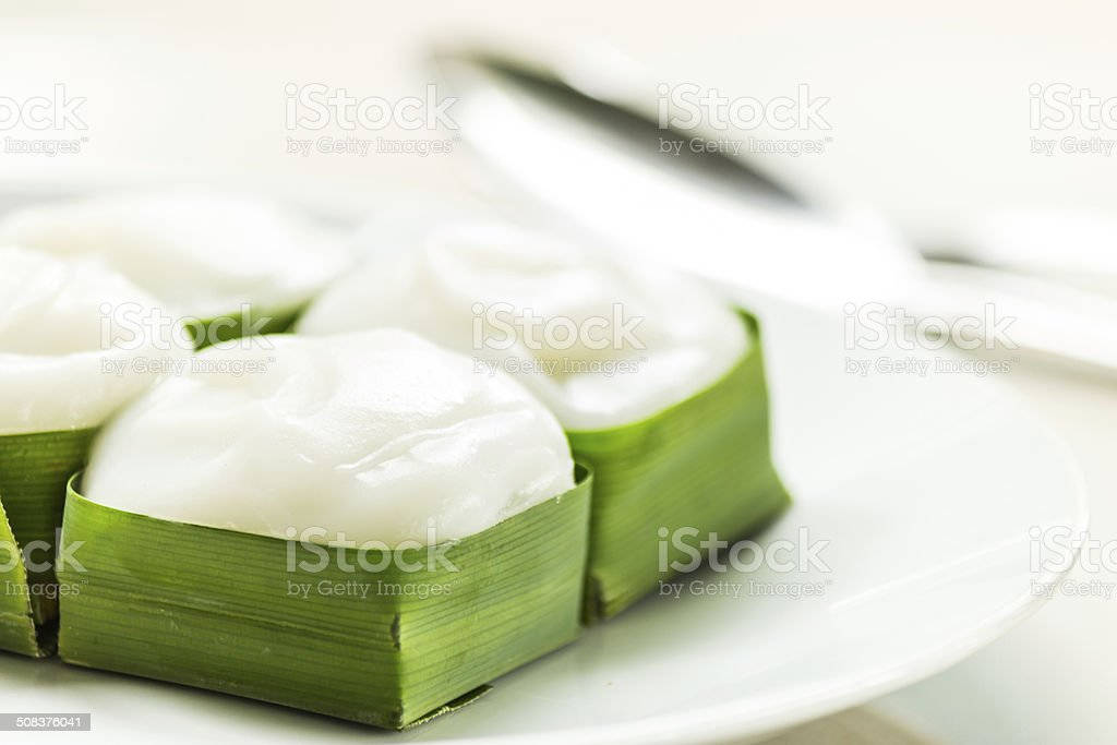 pudding with coconut topping stock photo