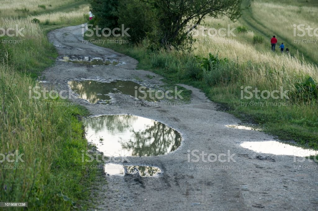 Puddle On Road During Rain Stock Photo & More Pictures of Abstract