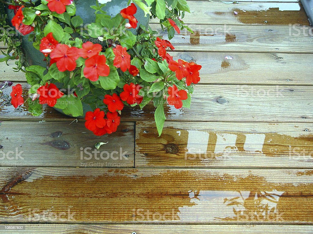Puddles with Reflections on Deck royalty-free stock photo