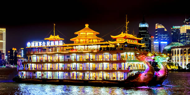 Pudong District Night Scene, Shanghai, China SHANGHAI, CHINA, DECEMBER - 2018 - Panoramic night urban winter scene at pudong district, a modern financial zone located in shanghai city, china huangpu river stock pictures, royalty-free photos & images