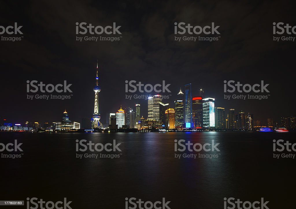 Pudong's Skyline at night, Shanghai royalty-free stock photo
