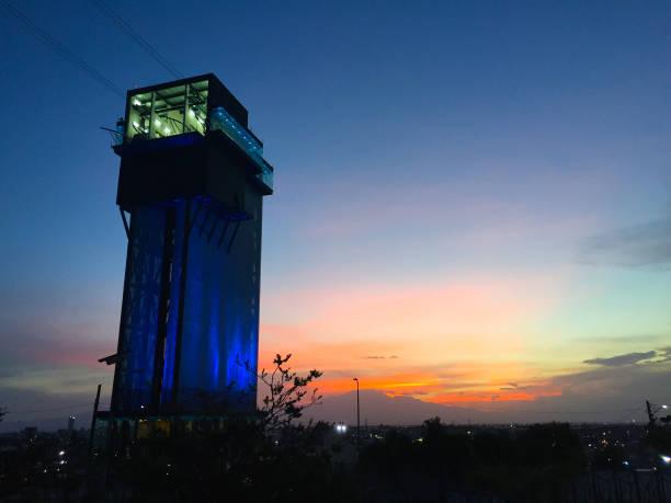 Puebla City, Puebla. Mexico. July, 2016. The cableway tower in Puebla City. Puebla City, Puebla. Mexico. July, 2017. The cableway tower in Puebla City. puebla state stock pictures, royalty-free photos & images