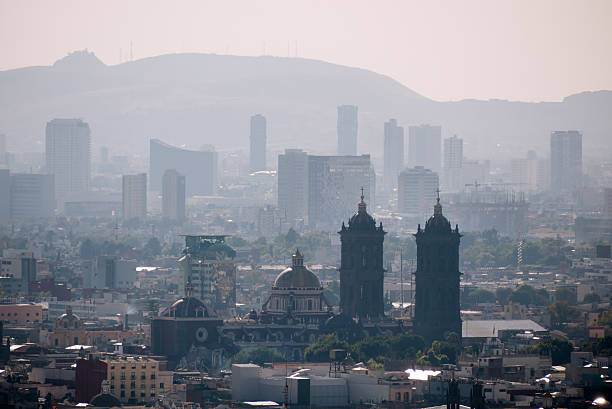 Puebla City Skyline, Mexico The skyline of Puebla City with the cathedral in the middle. Puebla is a colonial town, a famous tourist destination and a