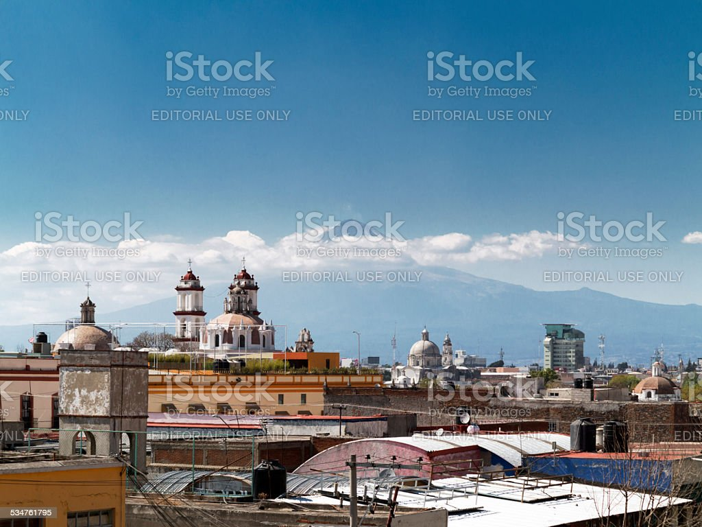 Puebla City with Popocatepetl, Mexico stock photo