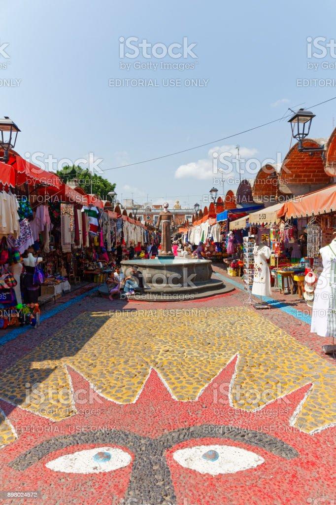 Puebla craft market stock photo
