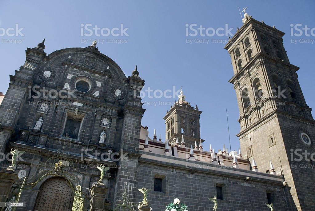 Puebla main church in Mexico stock photo