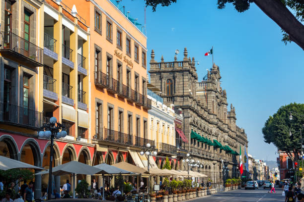 Puebla Street and Town Hall stock photo
