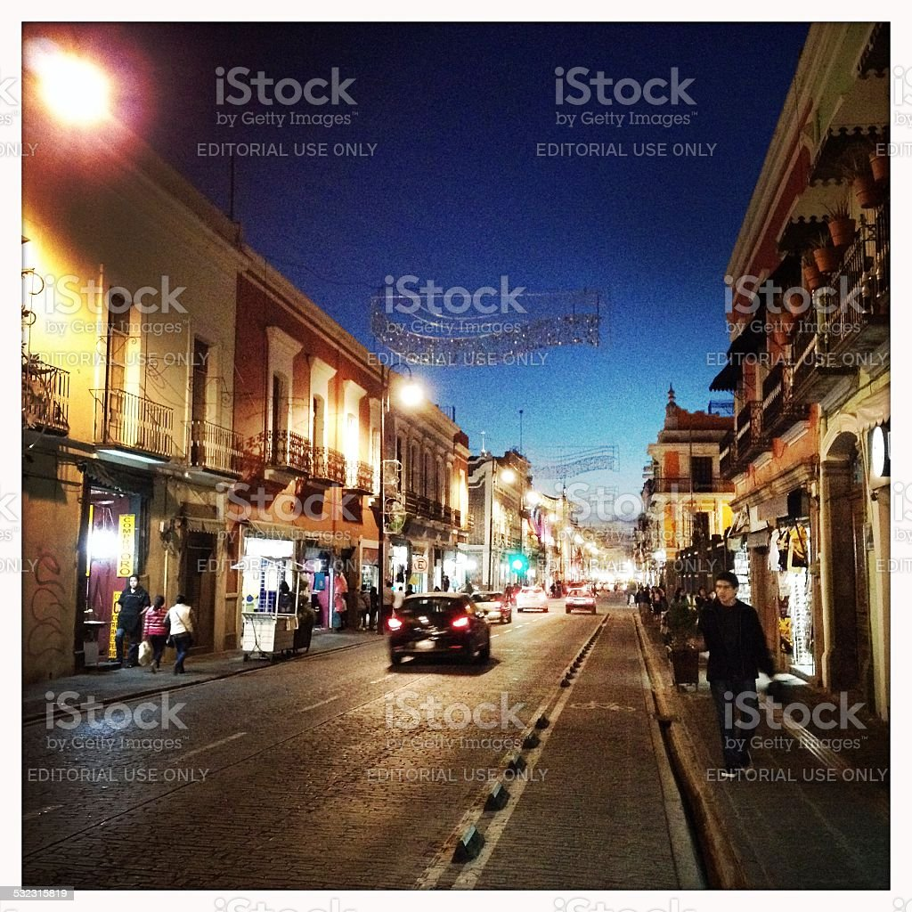 Puebla Street at Dusk, Mexico stock photo