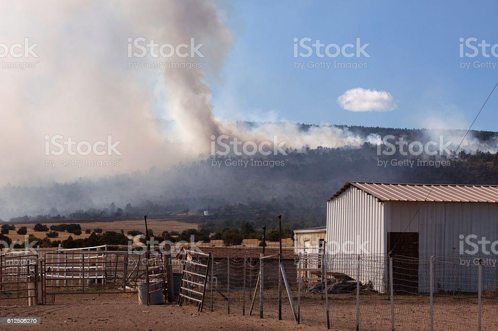 Pueblo Colorado Beulah Hill Fire wildfire smoke Rocky Mountains stock photo