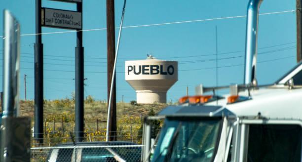 Pueblo Colorado water tower stock photo