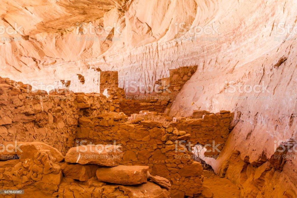 Pueblo III Era Ruins at 17 Room House stock photo