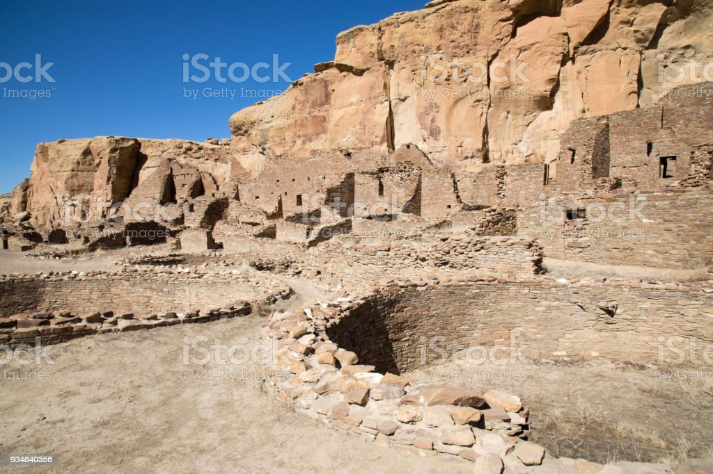 Pueblo ruins at Chaco Canyon National Historic Park in New Mexico stock photo