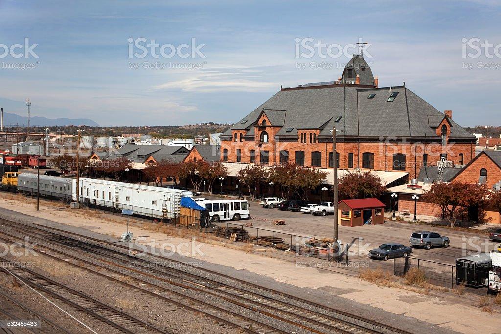 Pueblo Union Train Station and tracks Colorado stock photo