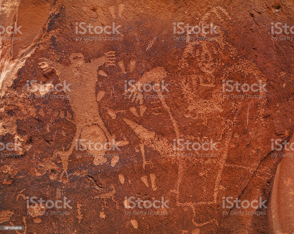 Puebloan rock art, ancient petroglyphs, Moab, Utah, USA stock photo