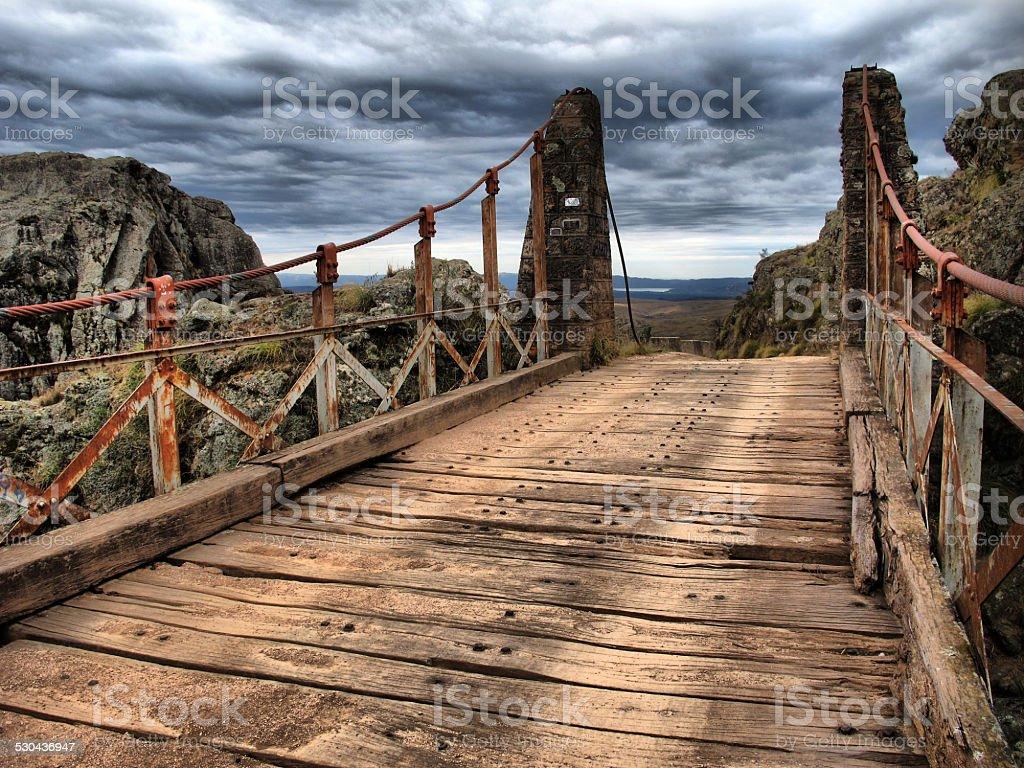 Puente Colgante Viejo en Copina, Cordoba, Argentina stock photo
