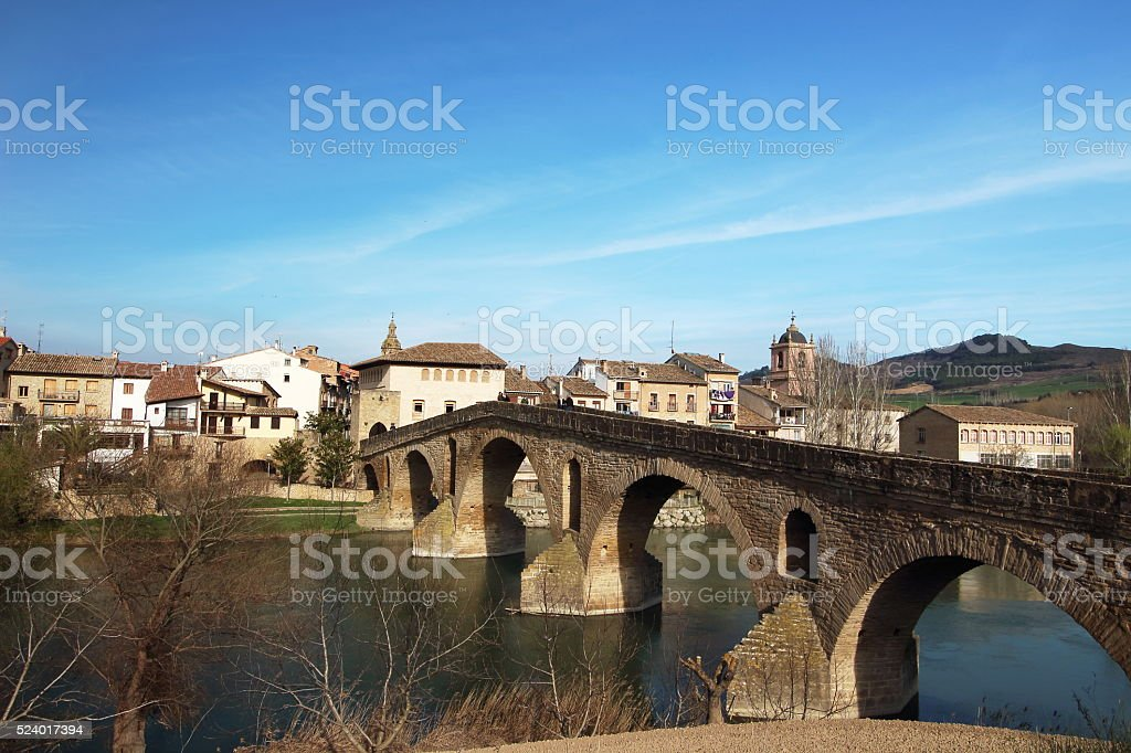 Puente de la Reina's bridge in Camino de Santiago stock photo