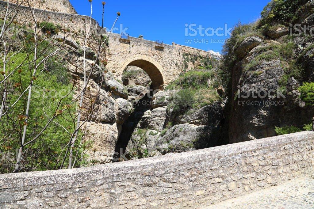 Puente de San Miguel Bridge in Ronda Andalusia, Spain stock photo