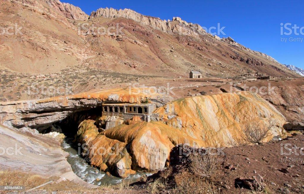 Puente del Inca, incas bridge natural monument, Mendoza, Argentina stock photo