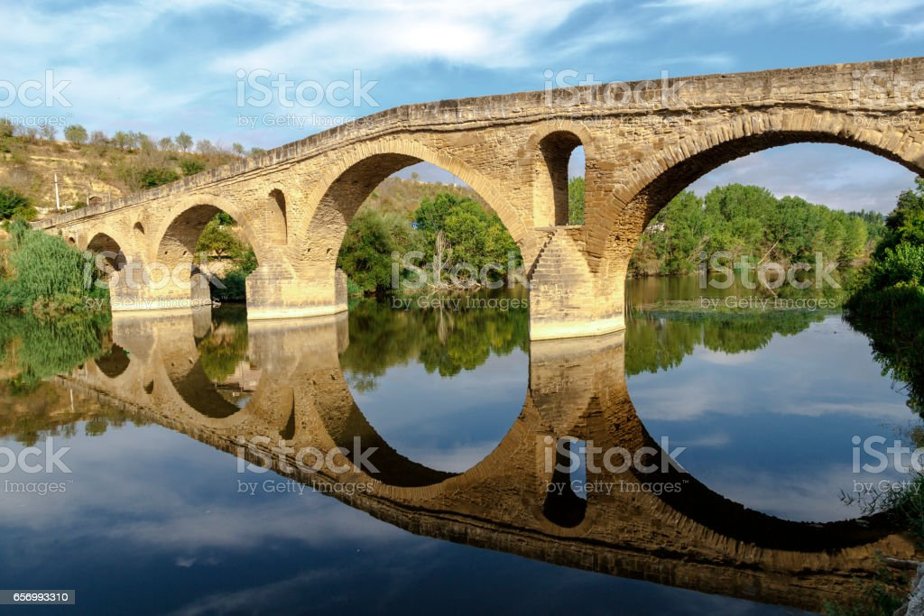 Puente la Reina bridge , Navarre Spain stock photo