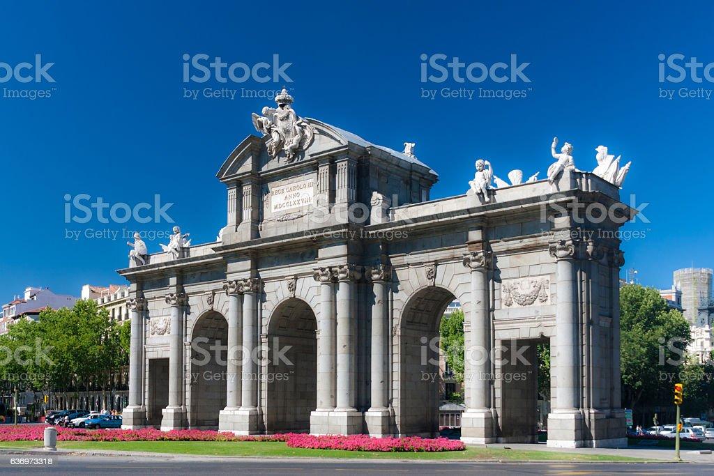 Puerta de Alcala in central Madrid, Spain stock photo