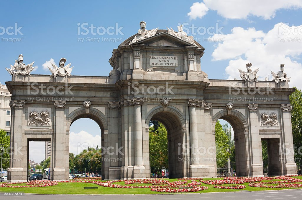 Puerta de Alcala in Madrid in a beautiful summer day stock photo