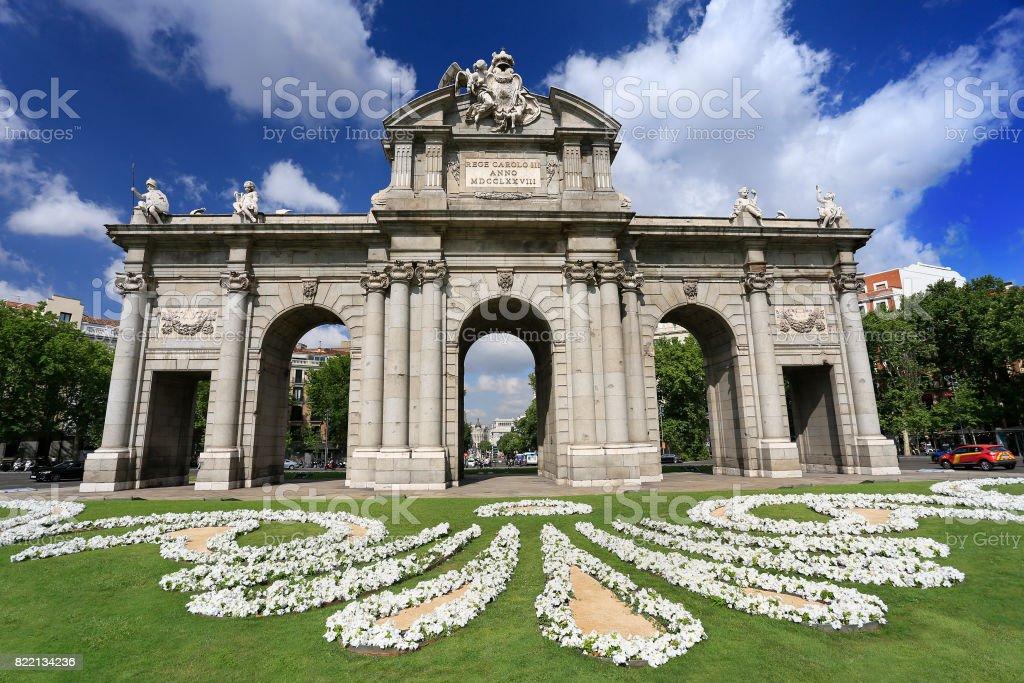 Puerta de Alcala (Alcala Gate) in Madrid stock photo