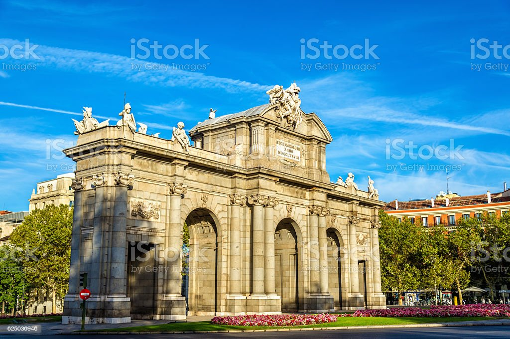 Puerta de Alcala, one of the ancient gates in Madrid stock photo