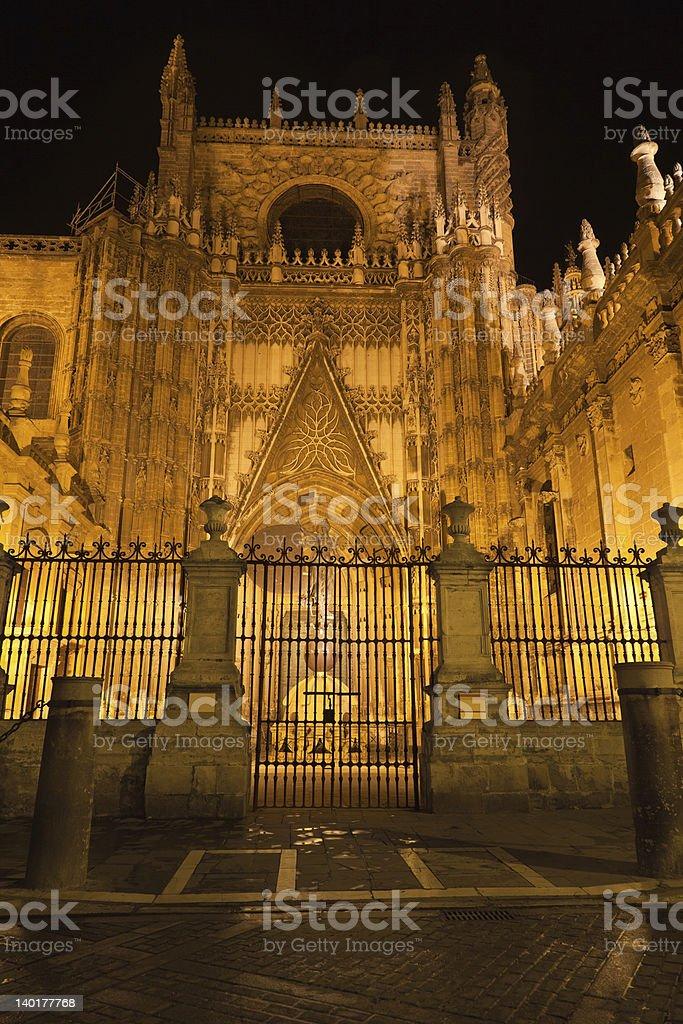 Puerta del Principe of Sevilla Cathedral at night, Spain royalty-free stock photo