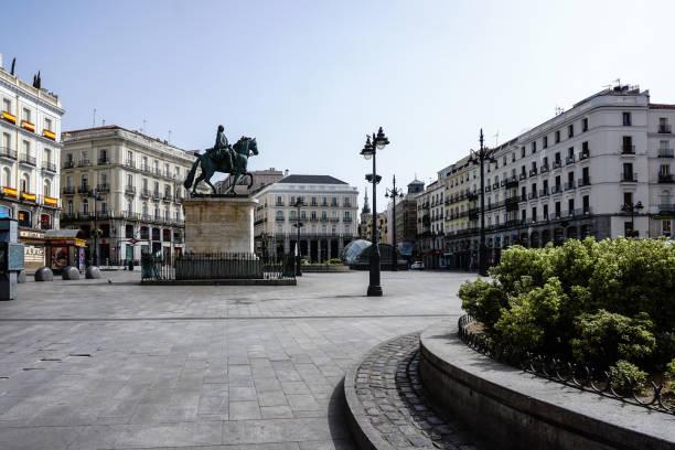 Puerta del Sol in Madrid (Spain), deserted by the coronavirus. stock photo
