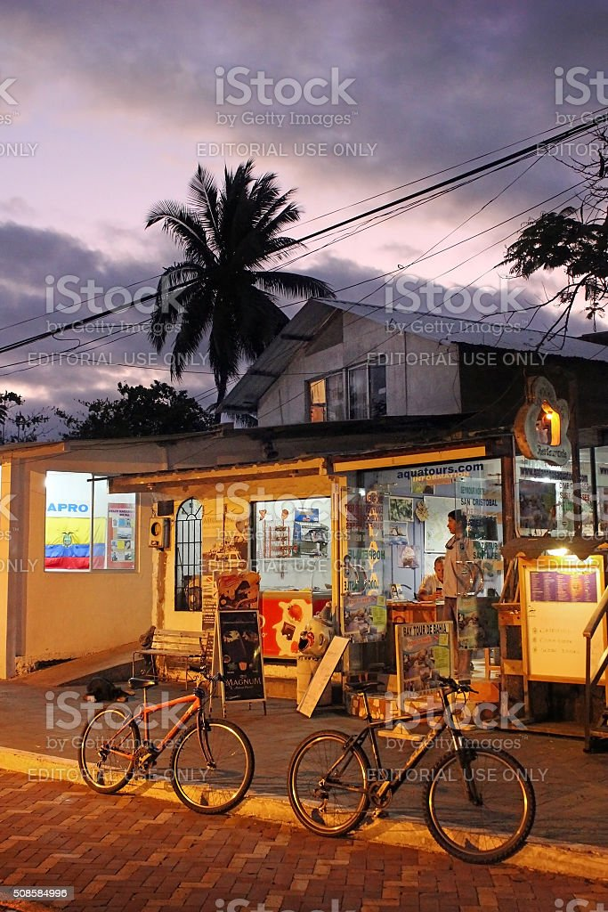 Puerto Ayora in the Galapagos at Night stock photo