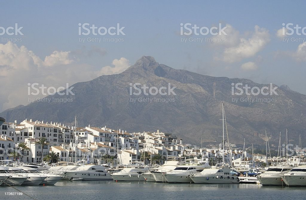 Puerto Banus Marina and Mountain royalty-free stock photo