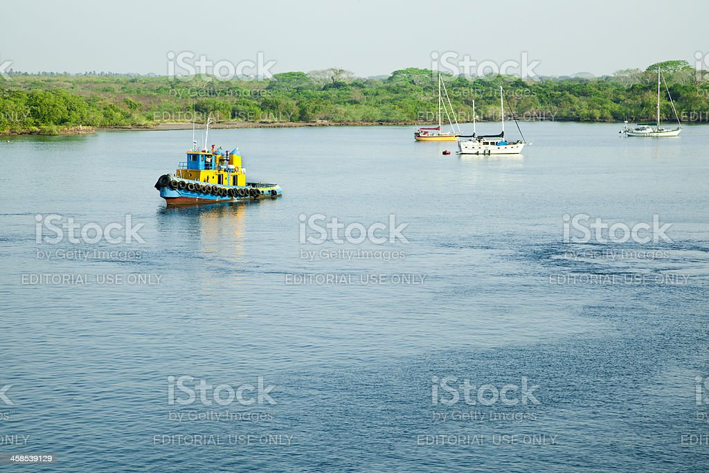 Puerto Chiapas Harbor, Mexico, Tug Boat royalty-free stock photo