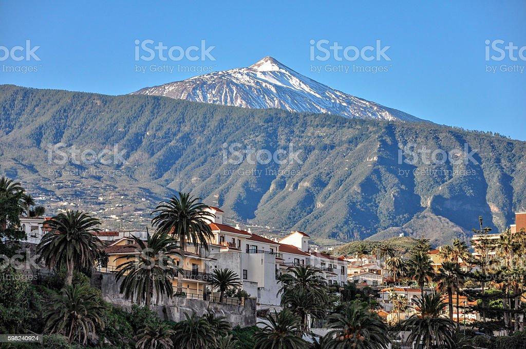 Puerto de la Cruz and mount Teide, Tenerife stock photo