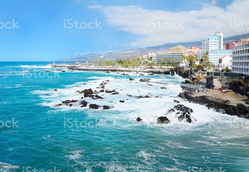 Puerto de la Cruz coast stock photo