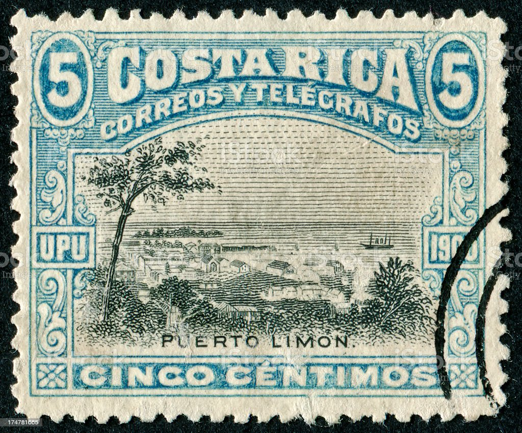 Puerto Limon Stamp royalty-free stock photo