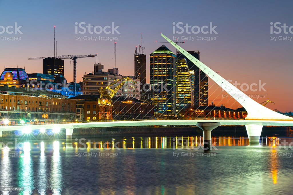 Puerto Madero at night, harbor of Buenos Aires Argentina stock photo