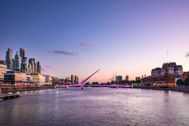 Puerto Madero in Buenos Aires at dusk stock photo