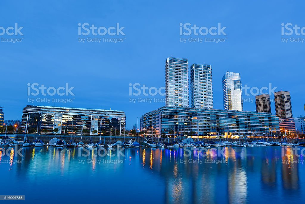 Puerto Madero in Buenos Aires at night stock photo