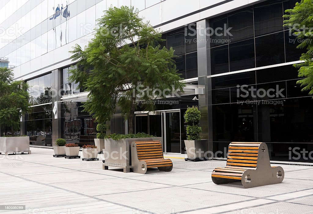 Puerto Madero street with seating  stock photo
