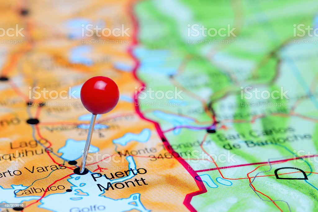 puerto montt chile map Puerto Montt Pinned On A Map Of Chile Stock Photo Download Image puerto montt chile map